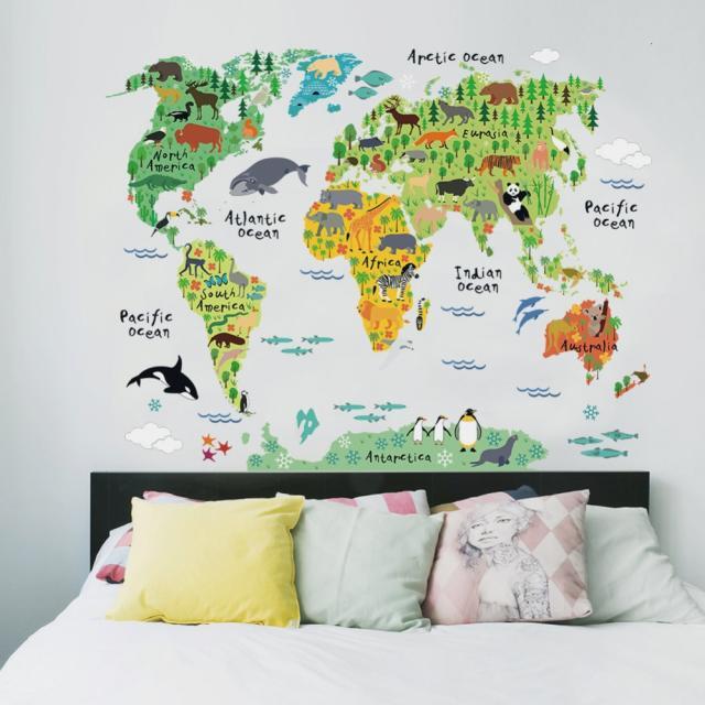 animal world map|map wall stickerworld map wall sticker